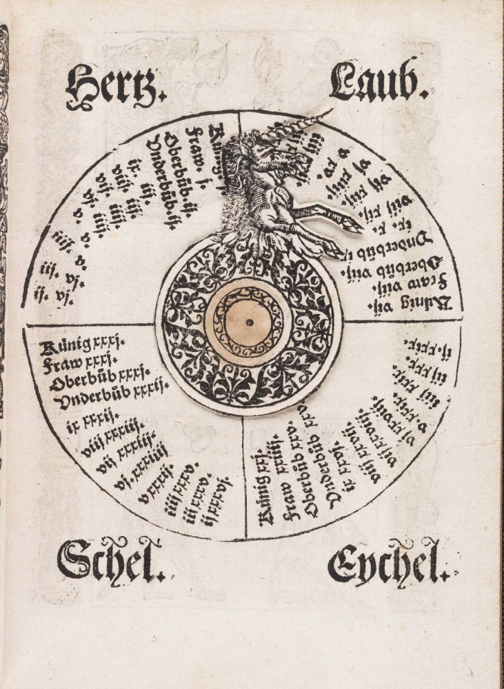 Entertainment-Games-of-fortune-Volvelle-with-unicorn-16th-Century-731x1000