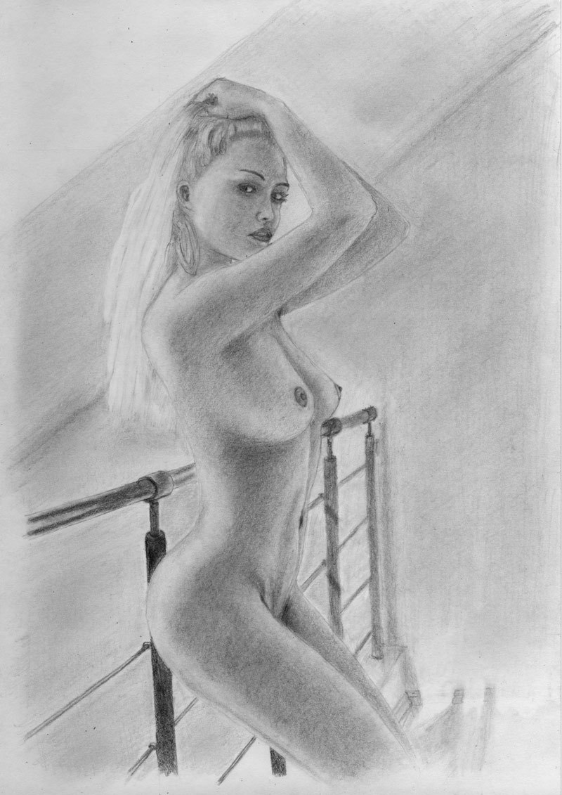 Nude woman in high heels drawing drawing by david rives