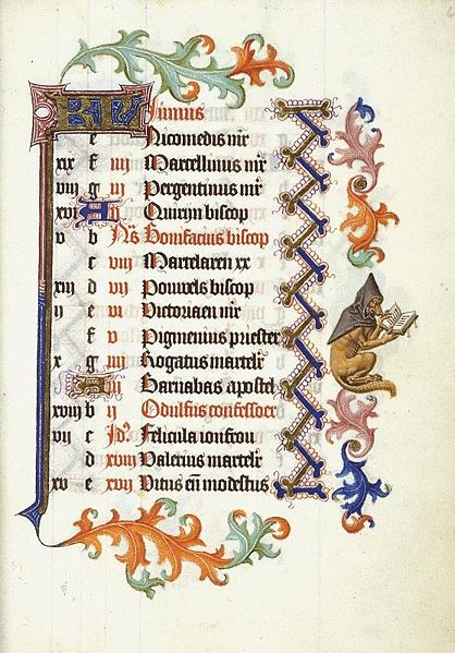 calendar pages from Hours of Catherine of Cleve