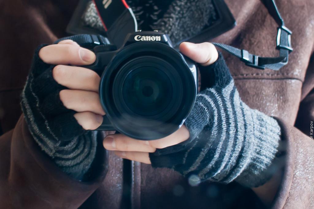 съемка на морозе, фотоаппарат canon