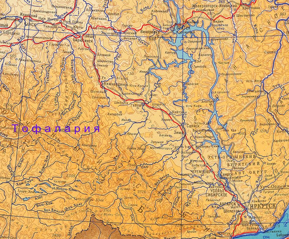 Тофалария, карта