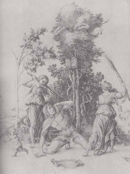 3 Orpheus slain by Bacchantes, with a boy running away. 1494