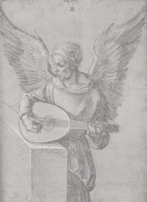 6 Winged man, in idealistic clothing, playing a lute 1497