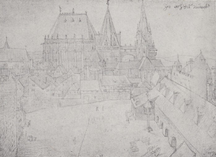 32 The cathedral of Aix-la-Chapelle with its surroundings, seen from the Coronation Hall. October 1520