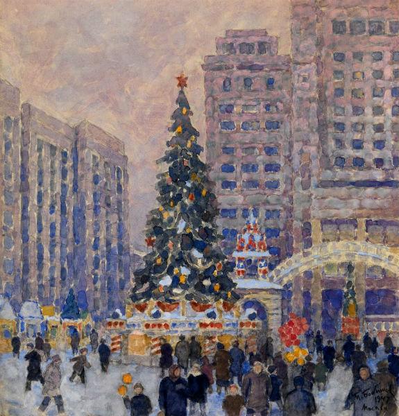 BOBYSHOV Михаил (1885-1964) Новогодняя елка на Манежной площади 1947 г