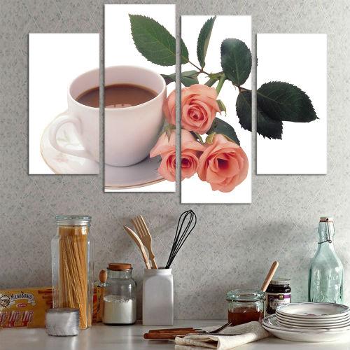 4-шт-компл-современный-Cuadros-чашек-кофе-и-розовыми-цветами-живопись-на-настенные-панно-искусства-на