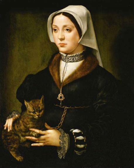 Прекрасная половина человечества и мартовская котокофемания Ambrosius_Benson_-_Portrait_of_a_Woman_with_Cat