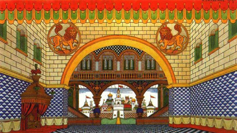 Эскиз декораций к 1 акту оперы - дворец Дадона.jpg