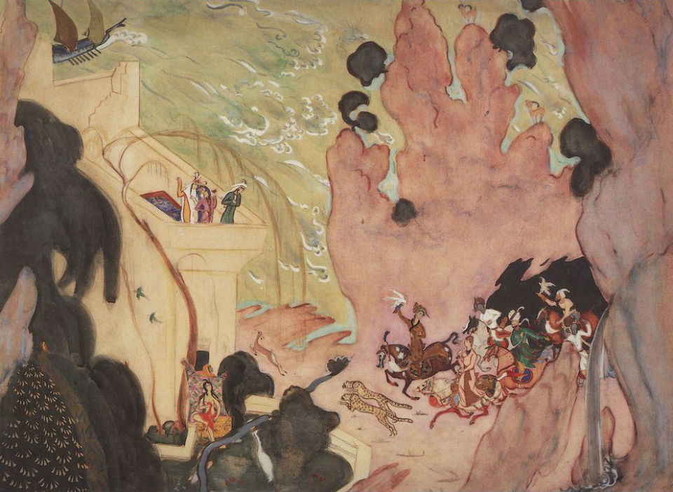 Эскиз занавеса к балету Шехеразада Валентин Серов 1910.jpg