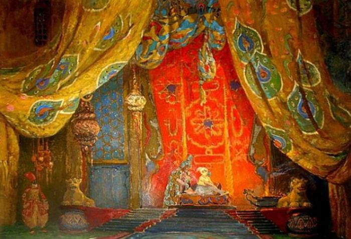 Леон Бакст - эскиз декораций Шехеразада 1.jpg