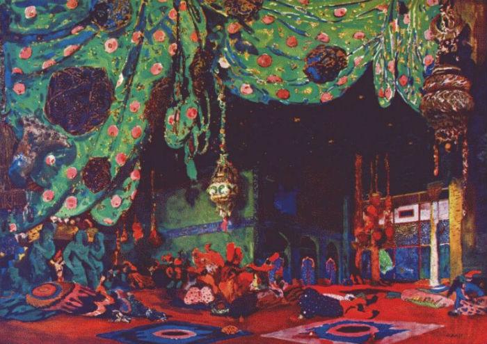 Леон Бакст - эскиз декораций Шехеразада 2.jpg