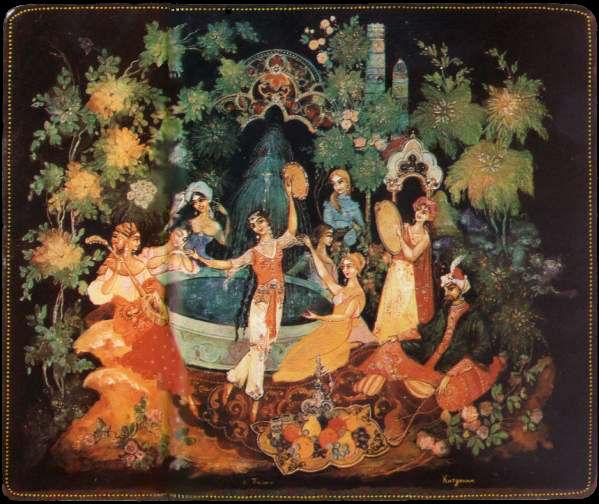 Бахчисарайский фонтан портсигар Палех.jpg
