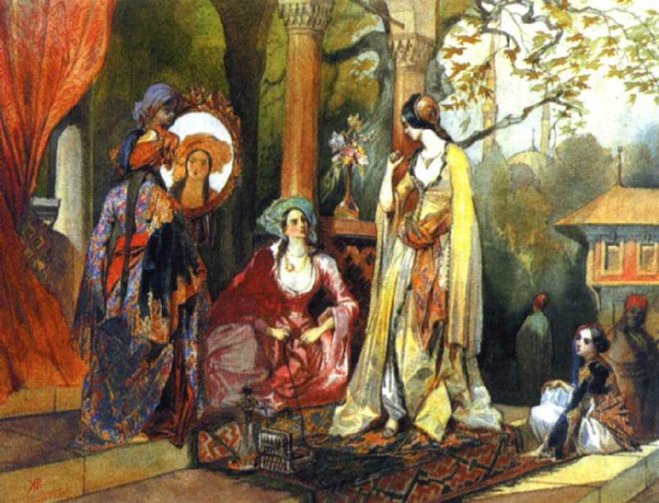 Жены Гирея Гагарин Григорий Григорьевич 1837 акварель.jpg
