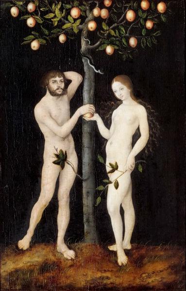 Лукас Кранах старший - Адам и Ева 1521 Королевский музей искусств Антверпен.jpg