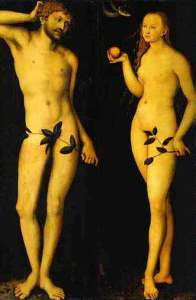 Лукас Кранах старший - Адам и Ева 1528 Галерея Уффици.jpg