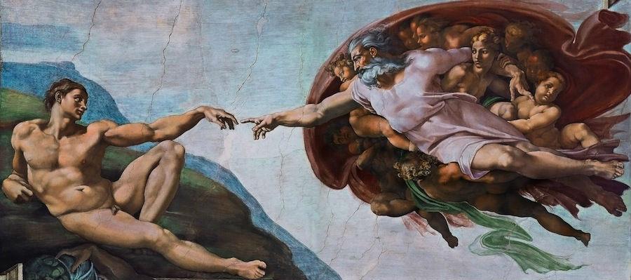 Микеланджело Буанаротти (1475-1564) - Сотворение Адама - часть фрески Сикстинской капеллы.jpg