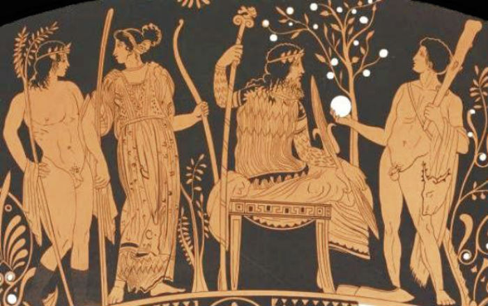 Геракл подает золотое яблоко из сада Гесперид Зевсу.jpg