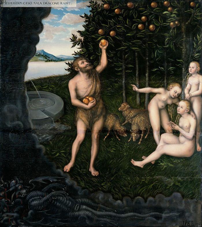 Лукас Кранах Старший - Геркулес похищает яблоки Гесперид - Музей герцога Антона Ульриха Брауншвейг.jpg