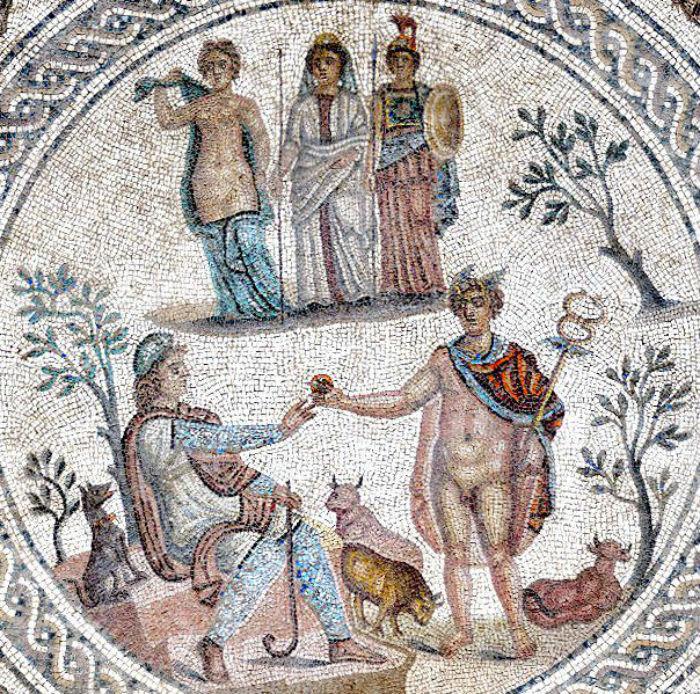 Суд Париса - мозаика времён Древней Римской империи.jpg