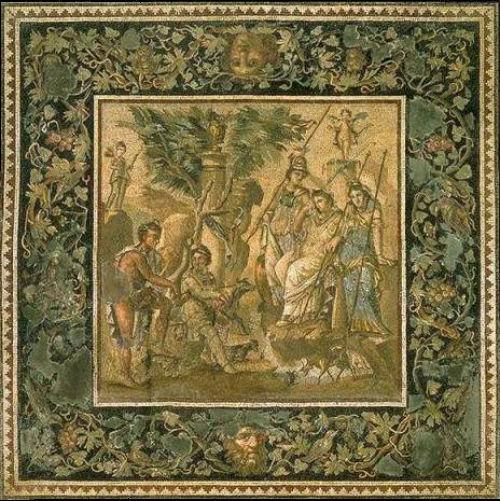 Гобелен по мотивам Суд Париса мозаичное панно 115 год до нашей эры Антиохия.jpg