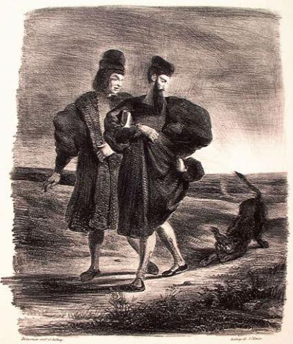 Фауст и Вагнер замечают пуделя - литография 1828.jpg