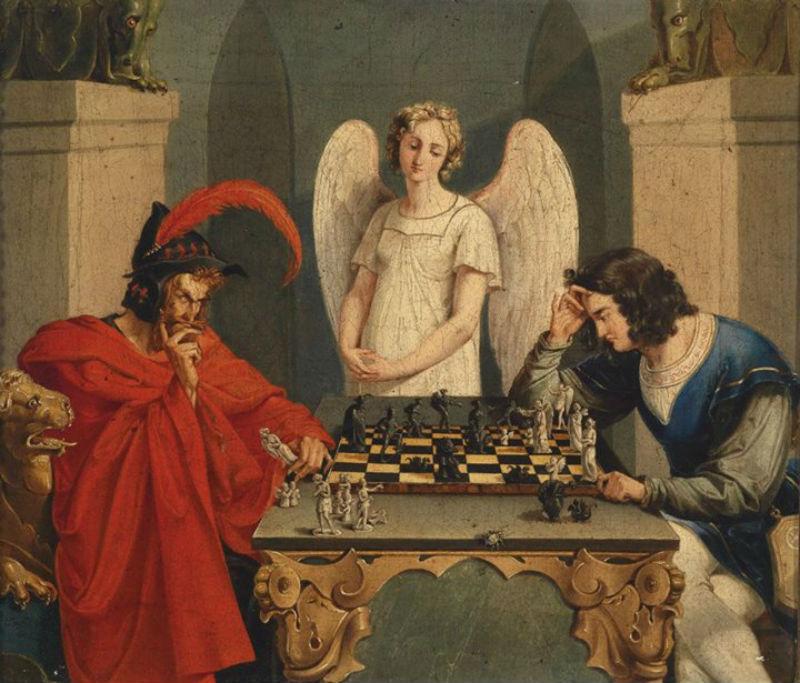 Фауст и Мефистофель играют в шахматы - Неизвестный художник 19 века.jpg