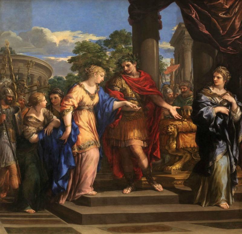 Pietro da Cortona (1596–1669) Caesar giving Cleopatra the Throne of Egypt.jpg