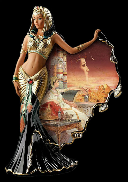 cleopatra egyptian queen heirloom porcelain figurine by the bradford exchange.jpg