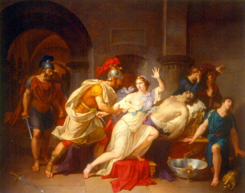 Жан-Бернар Дювивье -  Клеопатра захваченная римскими солдатами после смерти Марка Антония - 1789.jpg