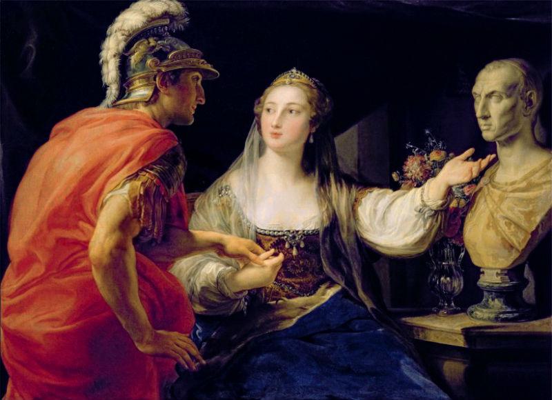 Помпео Джироламо Батони - Клеопатра, показывающая Октавиану бюст Юлия Цезаря.jpg