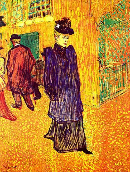 Жанна Авриль идущая из Мулен Руж.jpg