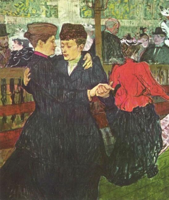 В Мулен Руж - две танцующие женщины.jpg