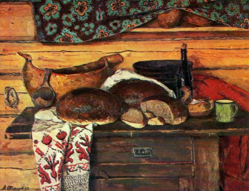 Стожаров Владимир Фёдорович (1926-1973) - Натюрморт. Хлеб, соль и братина - 1964.jpg