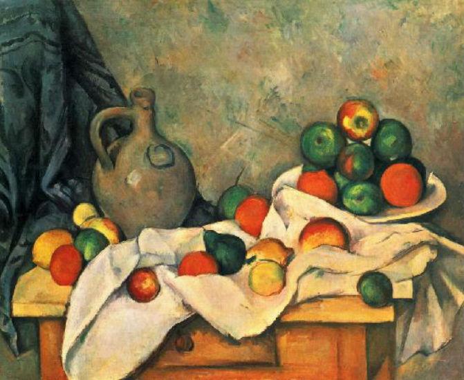 Поль Сезанн - Натюрморт с драпировкой кувшином и вазой для фруктов 1893-1894.jpg