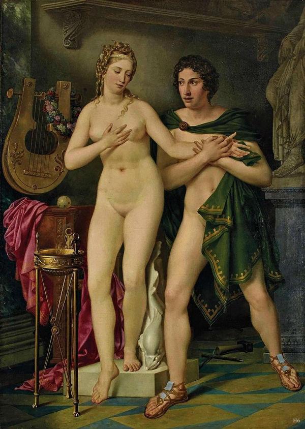 Joseph Denis Odevaere (belgian) (1778-1830) - Pygmalion and Galatea 1828.jpg