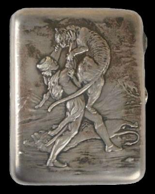 Портсигар Витязь в тигровой шкуре - серебро - 11 см.jpg