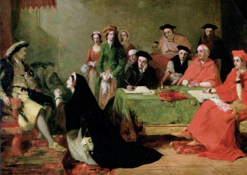 Генри Нельсон О'Нил 0 Екатерина Арагонская умоляет Генриха VIII отказаться от развода.jpg