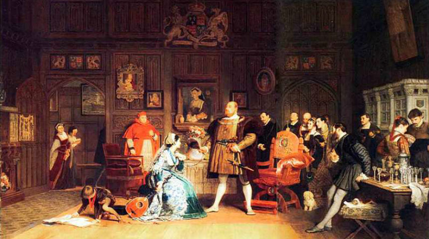 Маркус Стоун - Генрих VIII с Анной Болейн и Екатериной Арагонской наблюдающей за ними - 1870.jpg