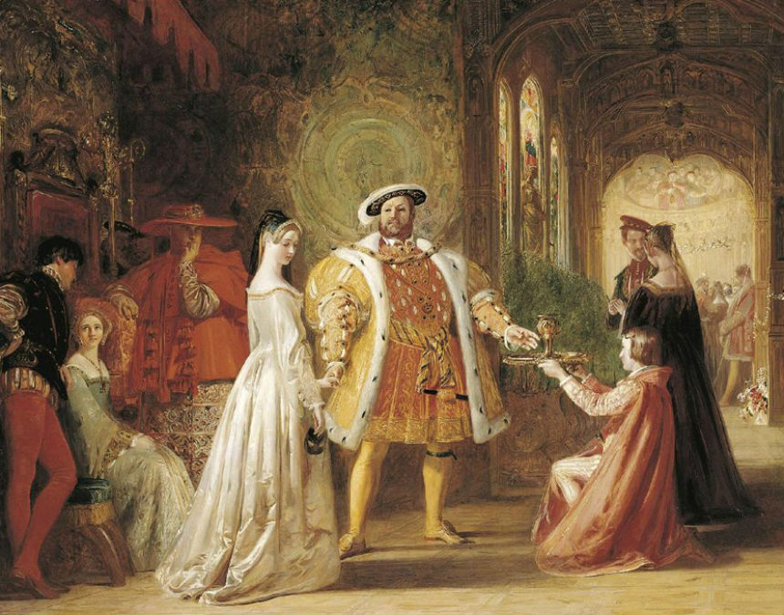 Встреча Генриха VIII и Анны Болейн в Хэмптон-корте -  The Meeting of Henry VIII and Anne Boleyn at Hampton Court by Daniel Maclise (1806-1870).jpg