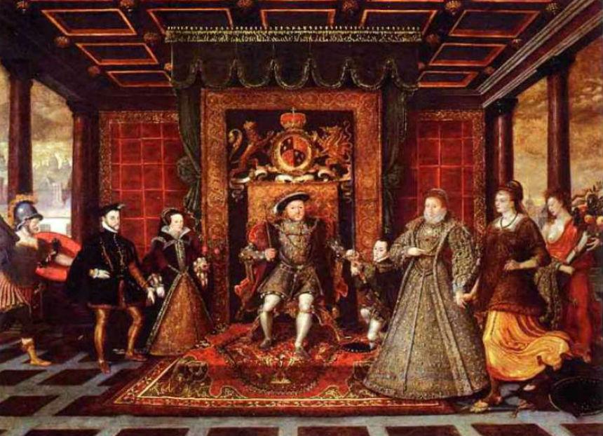 Лукас де Гир - около 1575 - Аллегорическое изображение семьи Генриха VIII - Король с тремя детьми и мужем Марии Филиппом II Габсбургом в окружении ми…