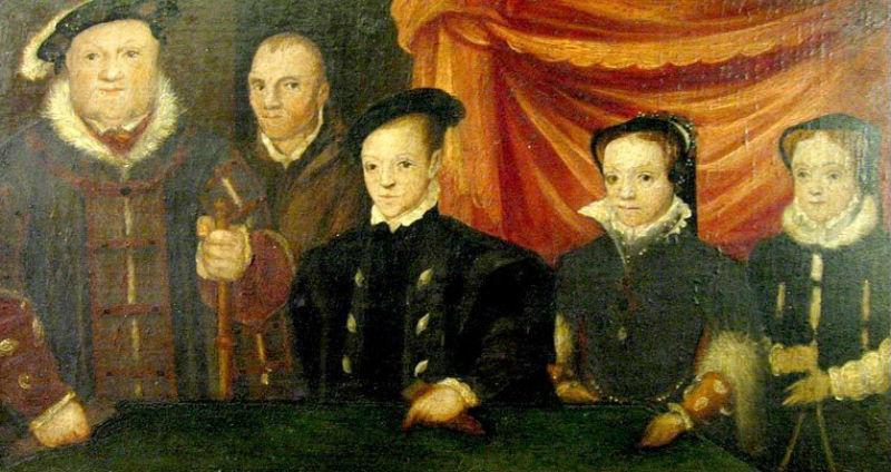 Генрих VIII со всеми своими детьми и Уиллом Сомерсом королевским шутом (1544-1545) - неизвестный художник.jpg