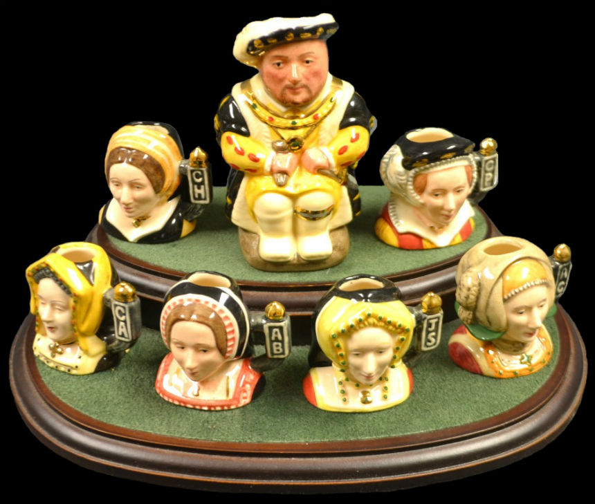 A ROYAL DOULTON HENRY VIII AND HIS SIX WIVES MINIATURE CHARACTER JUGS.jpg