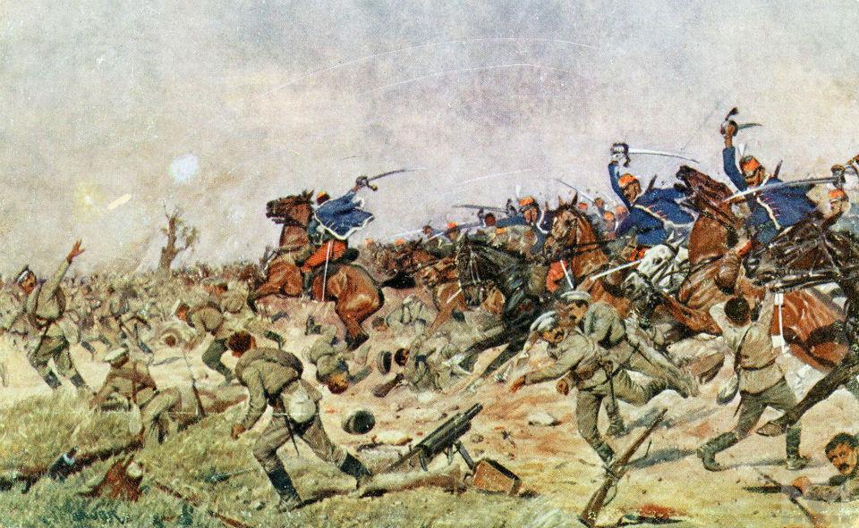 Карл Франц Бауэр -  Битва под Люблином - Венгерские гусары против русской пехоты.jpg