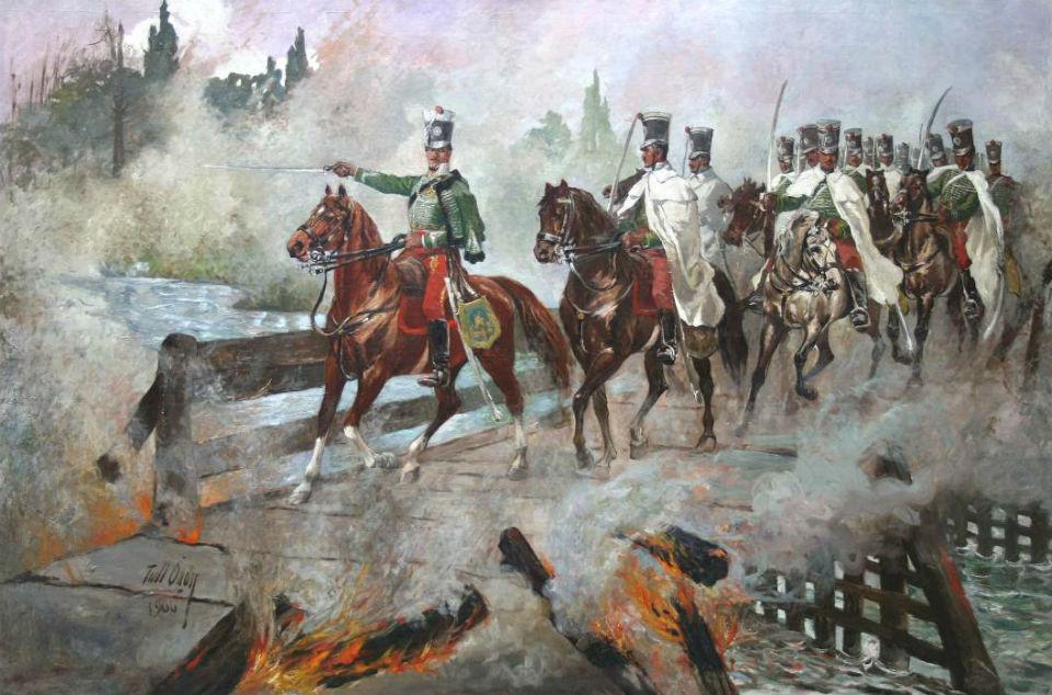 Йожеф Симони со своими гусарами переправляется через подожженый мост спасаясь от французов - художник Тулл Оден.jpg