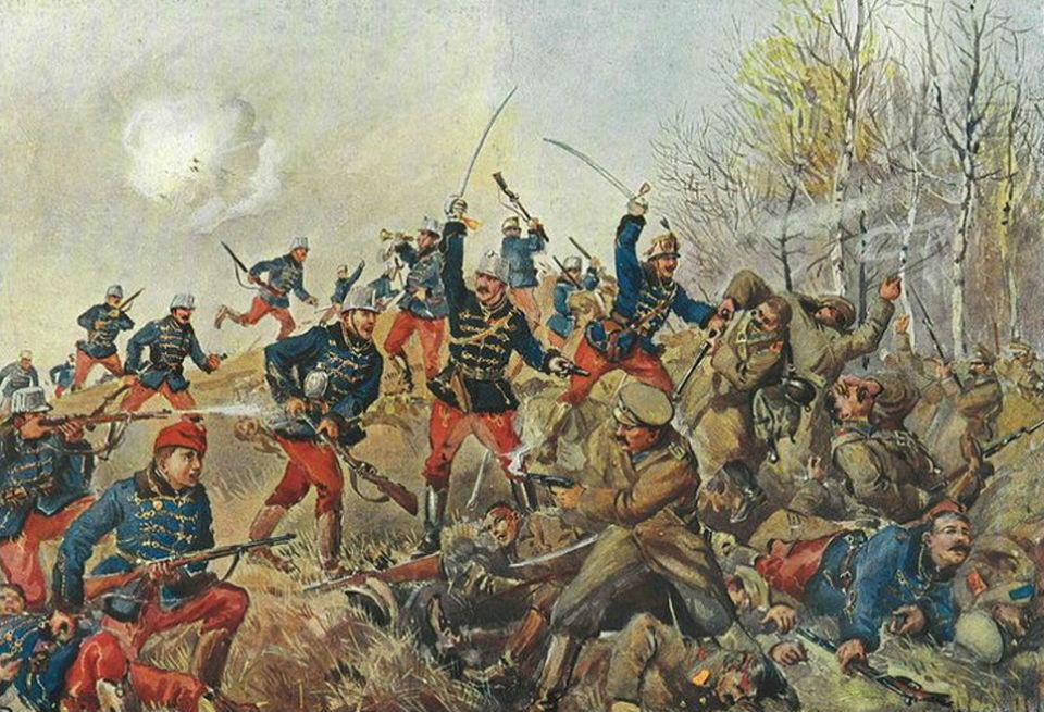 Рудольф Альфред Хёгер (1877-1930) - Столкновение венгерских гусаров и русской пехоты  - октябрь 1914 года.jpg