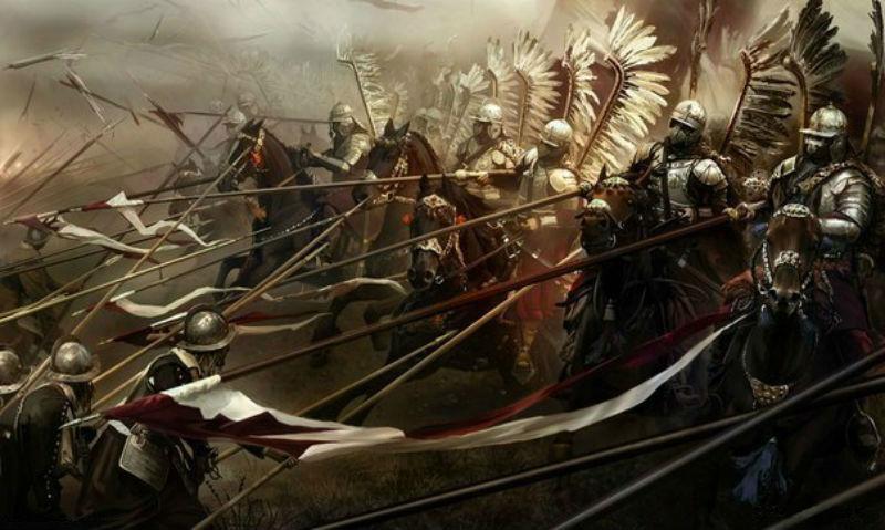 Мариуш Козик - Атака хоругви польских крылатых гусар на позиции шведских пикинёров при Киргхольме 27 сентября 1605 года.jpg