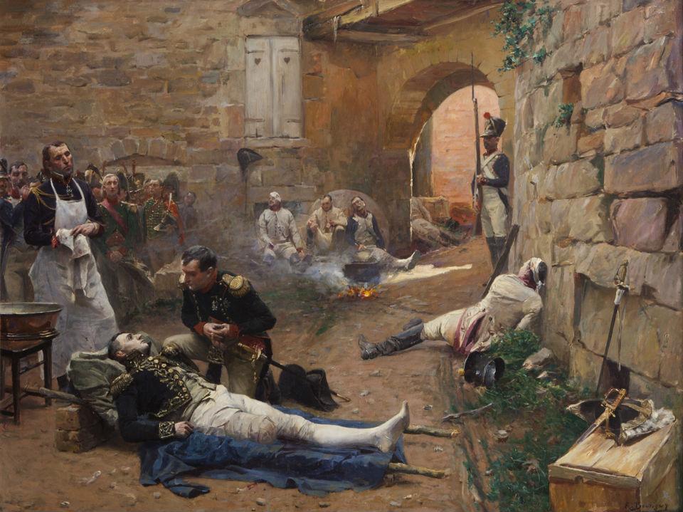 Бутиньи Поль-Эмиль (1853-1929) - Наполеон перед умирающим маршалом Ланном после битвы при Эсслинге 1809.jpg