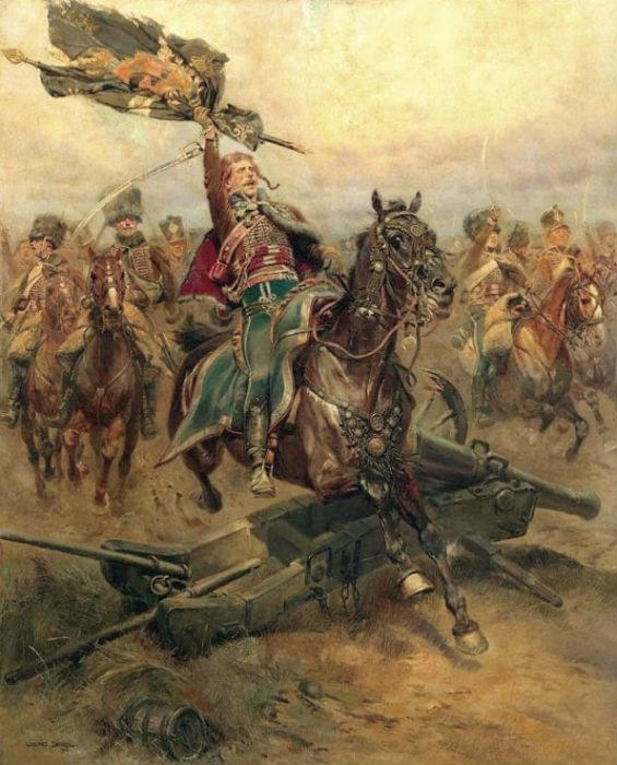 Жан-Батист Эдуард Детайль - Французские гусары с захваченным знаменем.jpg