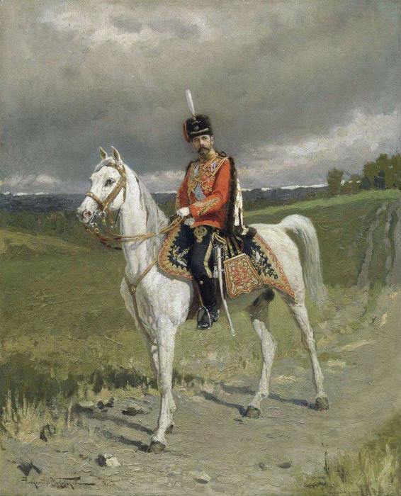 Император Николай II в форме Лейб-Гвардии Гусарского полка - Маковский Александр Владимирович.jpg