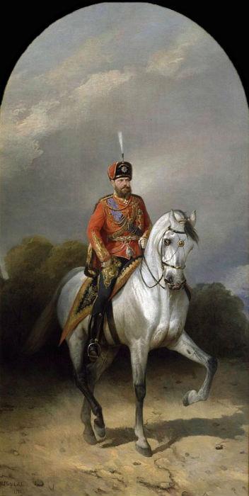 Н. Сверчков - Портрет императора Александра III Александровича в мундире лейб-гвардии Гусарского полка.jpg